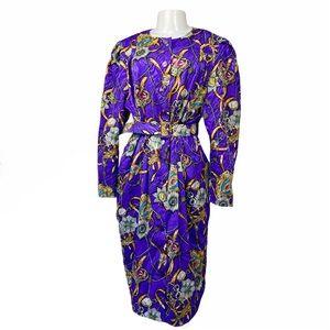 VTG 80s Satin Gold & Purple Regal Brocade Dress 14